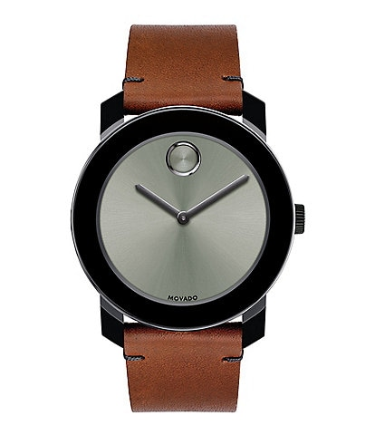 Movado Bold Colorado Bull Hide Leather-Strap Watch