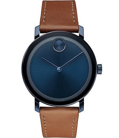 Movado Bold Evolution Blue Dial Leather Strap Watch
