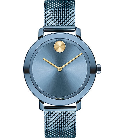 Movado Bold Evolution Blue Stainless Steel Mesh Bracelet Watch
