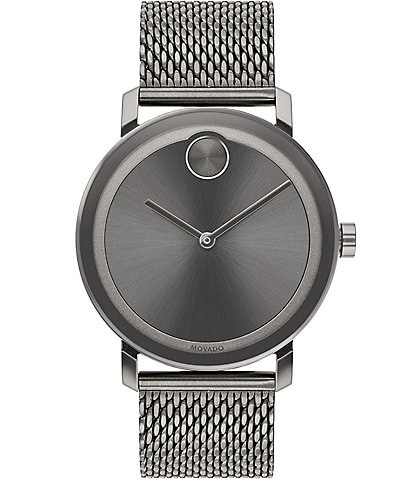 Movado Bold Evolution Grey Mesh Strap Bracelet Watch