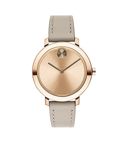 Movado Bold Evolution Leather Strap Watch