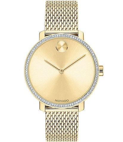 Movado Bold Gold Crystal IP Mesh Bracelet Watch