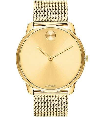 Movado Bold Gold Stainless Steel Mesh Bracelet Watch