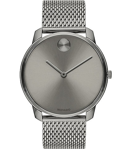 Movado Bold Grey IP Stainless Steel Mesh Bracelet Watch