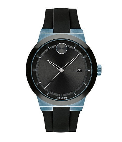 Movado Bold Men's Black Blue Swiss Quartz Fusion Watch
