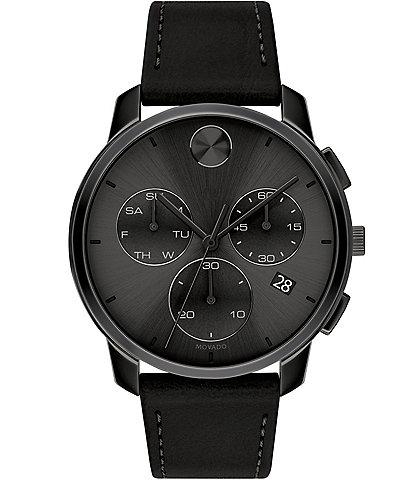 Movado Bold Men's Black IP Leather Swiss Quartz Chronograph Watch