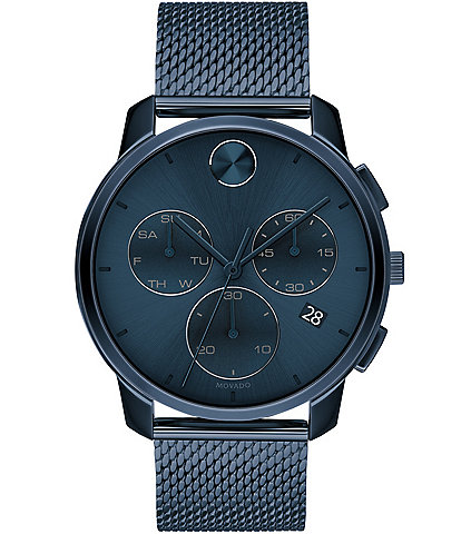 Movado Bold Men's Blue IP Mesh Swiss Quartz Chronograph Watch