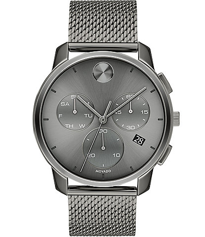 Movado Bold Men's Grey IP Mesh Swiss Quartz Chronograph Watch
