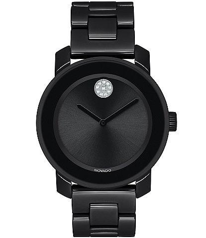 Movado Bold Mid Size Black Ceramic Watch