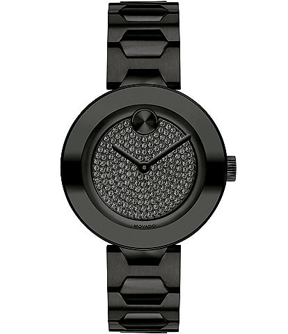 Movado Bold Mid Size Black Glitz Stainless Steel Bracelet Watch