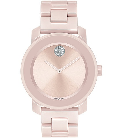 Movado Bold Mid Size Blush Ceramic Watch