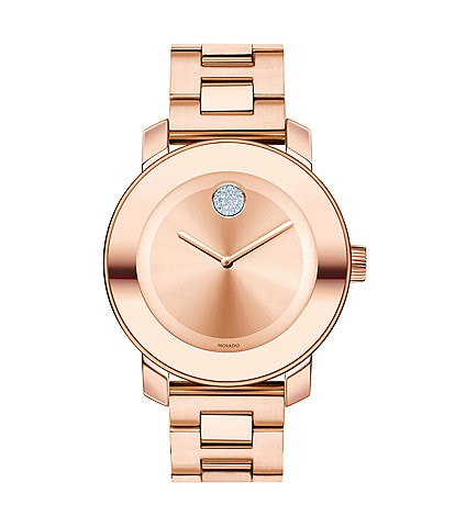 Movado Bold Mid-Size Rose Gold Analog Watch with Swarovski Crystal