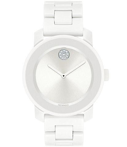 Movado Bold Mid Size White Ceramic Bracelet Watch