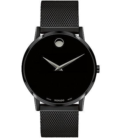 Movado Bold Museum Classic Black Mesh Bracelet Watch