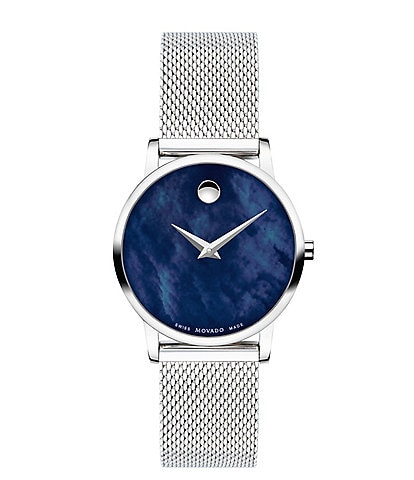 Movado Museum Classic Blue Mother of Pearl Dial Watch