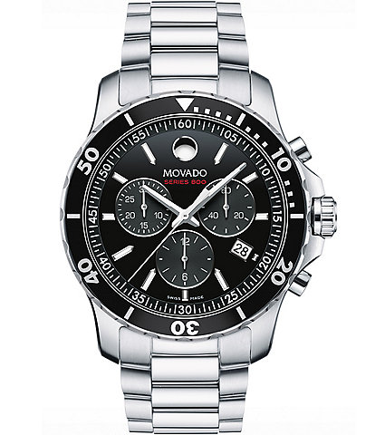 Movado Bold Series 800 Silver-Tone Quartz Chronograph Movement Watch