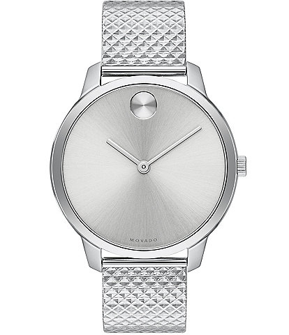 Movado Bold Stainless Steel Pyramid Mesh Bracelet Watch