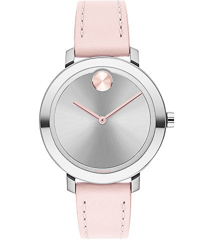 Movado Bold Women's Pink Leather Swiss Quartz Evolution Watch