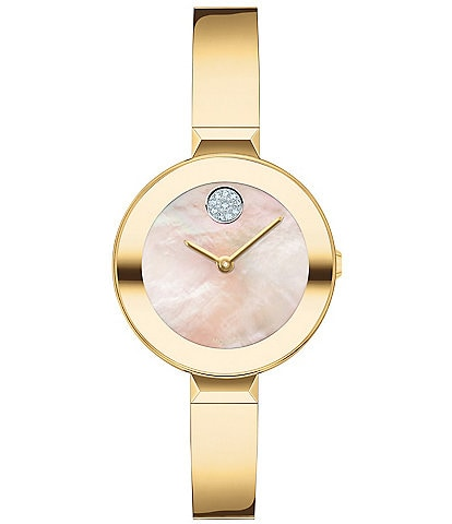 Movado Bold Women's Swiss Quartz Gold Bangle Bracelet Watch
