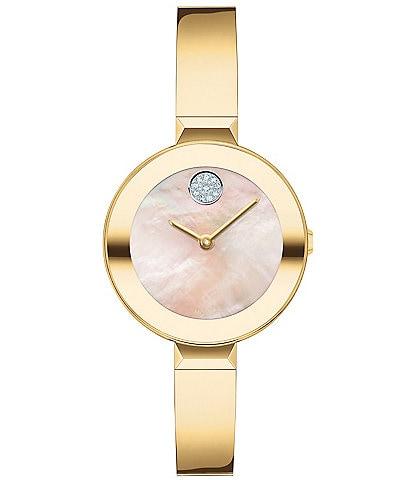 Movado Bold Women's Swiss Quartz Gold Bangle Bracelet Watch