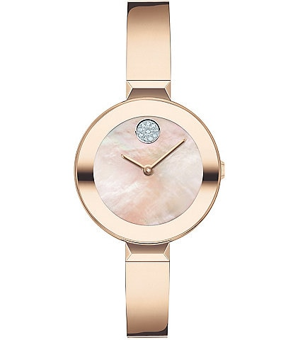 Movado Bold Women's Swiss Quartz Rose Gold Bangle Bracelet Watch