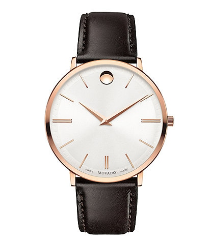 Movado Brown Calf Skin Ultra Slim Watch
