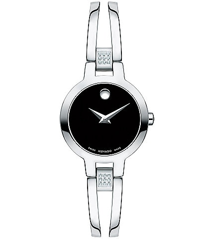 Movado Double Bar Bangle Amorosa Watch with Diamond Detail