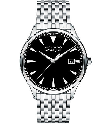 Movado Heritage Stainless Steel Silver Brick-Link Watch