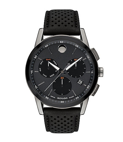 Movado Men's Museum Sport Chronograph Leather Strap Watch
