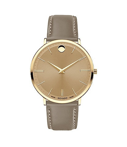Movado Men's Taupe Calfskin Ultra Slim Watch