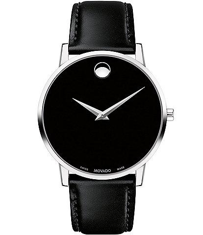 Movado Museum Classic Black Calfskin Strap Watch