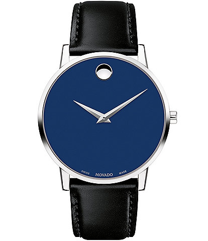 Movado Museum 40mm Classic Black Calfskin Strap Watch