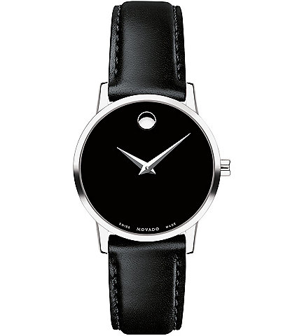 Movado Museum 28mm Classic Black Calfskin Strap Watch