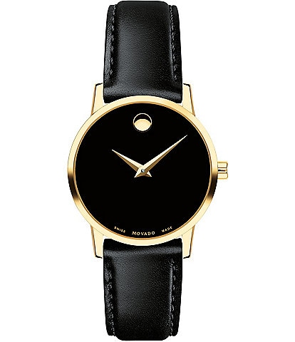 Movado Museum Classic Black And Gold Calfskin Strap Watch