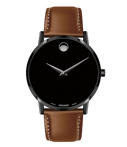 Movado Museum Classic Black Case and Cognac Calfskin Strap Watch