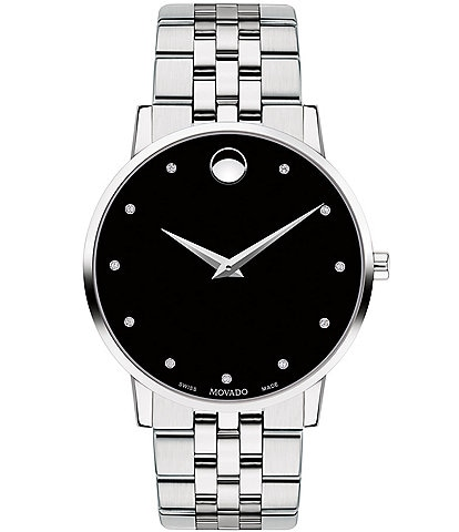 Movado Museum Classic Link Bracelet Watch with Diamond Detail
