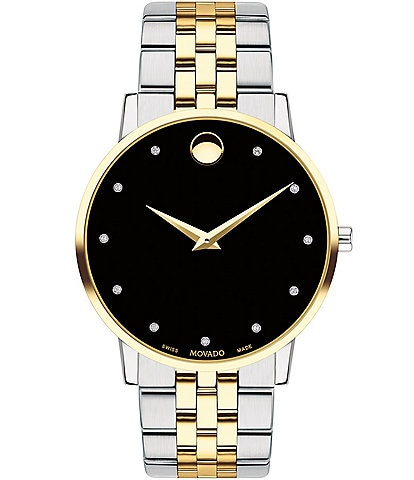 Movado Museum Classic Two Tone Link Bracelet Watch with Diamond Detail