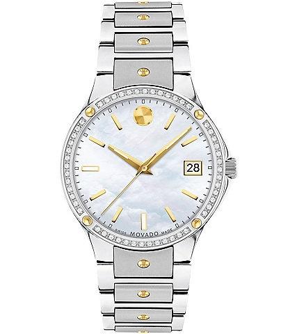 Movado SE Ladies Genuine Diamond Set Bezel MOP Dial Bracelet Watch