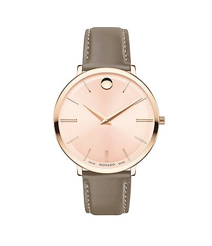 Movado Women's Taupe Calfskin Ultra Slim Watch