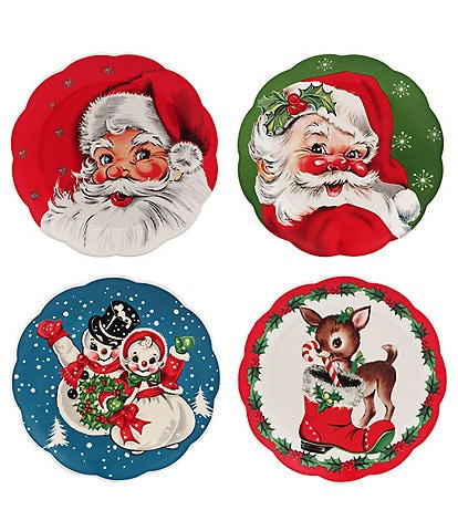 Mr. Christmas 8#double; Vintage Scalloped Dessert Plates, Set of 4