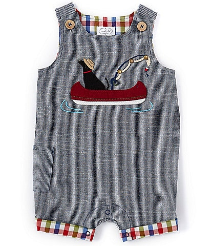 Mud Pie Baby Boy 3-18 Months Fishing Dog Chambray Shortall