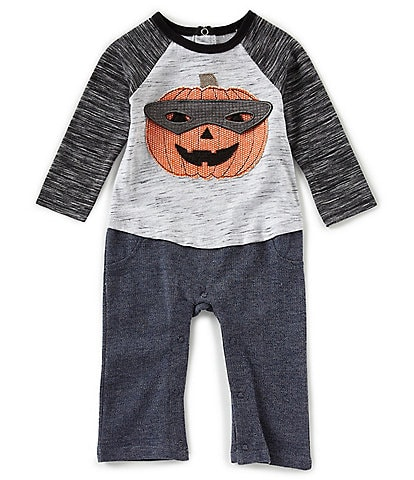 Mud Pie Baby Boys 3-12 Months Halloween Jack-'O-Lantern Color Block Interlock/French Terry Coverall