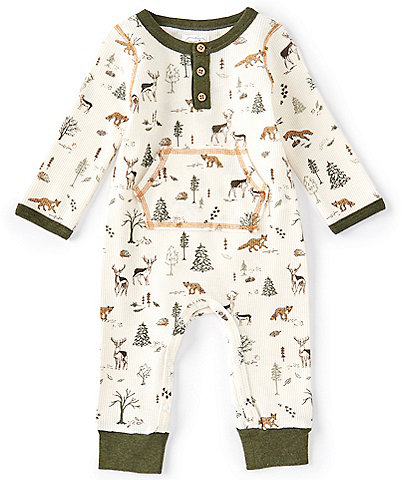 Mud Pie Baby Boys 3-12 Months Long-Sleeve Forest Friends Printed Coverall