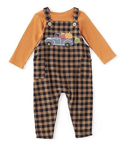 Mud Pie Baby Boys 3-12 Months Long Sleeve Waffle Knit Top & Pumpkin Truck Overall Set