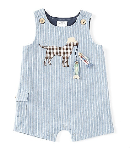 Mud Pie Baby Boys 3-18 Months Fishing Pup Chambray Shortall