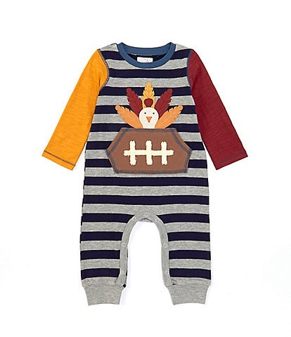 Mud Pie Baby Boys 3-18 Months Long-Sleeve Thanksgiving Turkey Football Coverall