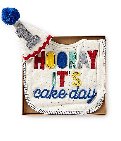 9524ad59164 Mud Pie Baby Boys Hooray Birthday Bib   Hat Set