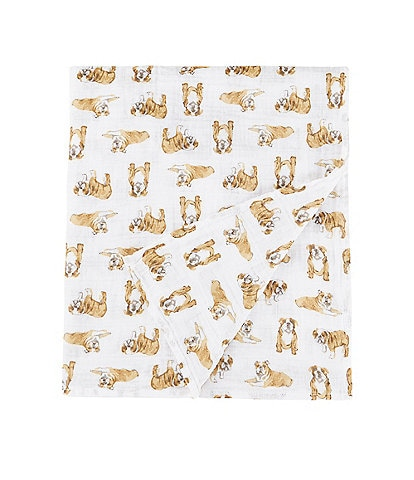Mud Pie Baby Bulldog Muslin Swaddle Blanket