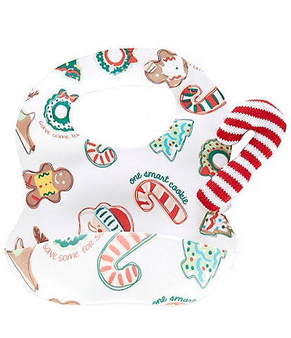 Mud Pie Baby Christmas Cookies Silicone Bib & Candy Cane Rattle 2-Piece Set