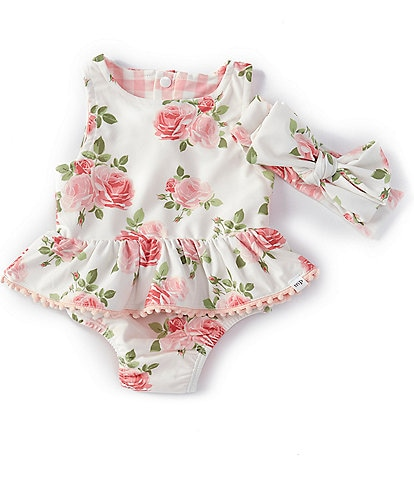 Mud Pie Baby Girls 3-18 Months Rose/Gingham Reversible Two-Piece Swimsuit & Bow Headband Set